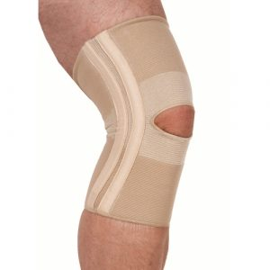 Elastic knee support with spiral stays
